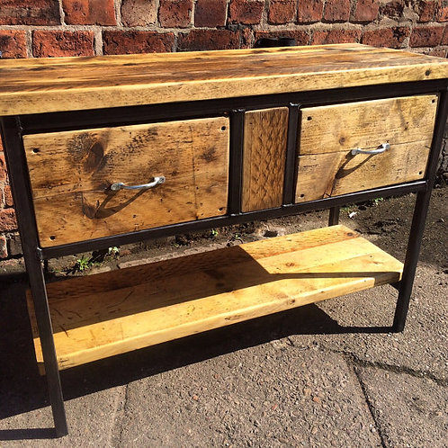 Reclaimed Industrial Rustic Bathroom Basin Washstand Sideboard with Drawer 037