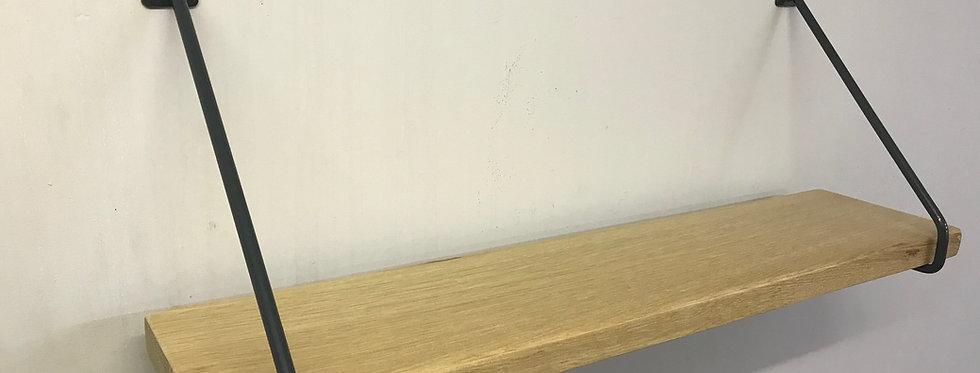 Full Stave Oak Industrial Chic Steel Round Bar Shelf-626
