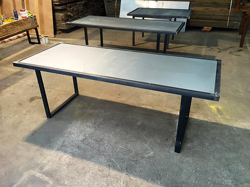 Reclaimed Industrial Chic 6-8 Seater Steel Top & Metal Dining Table HCB 474
