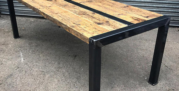 Industrial Chic Reclaimed Custom Visible Frame Metal Dining Table 531