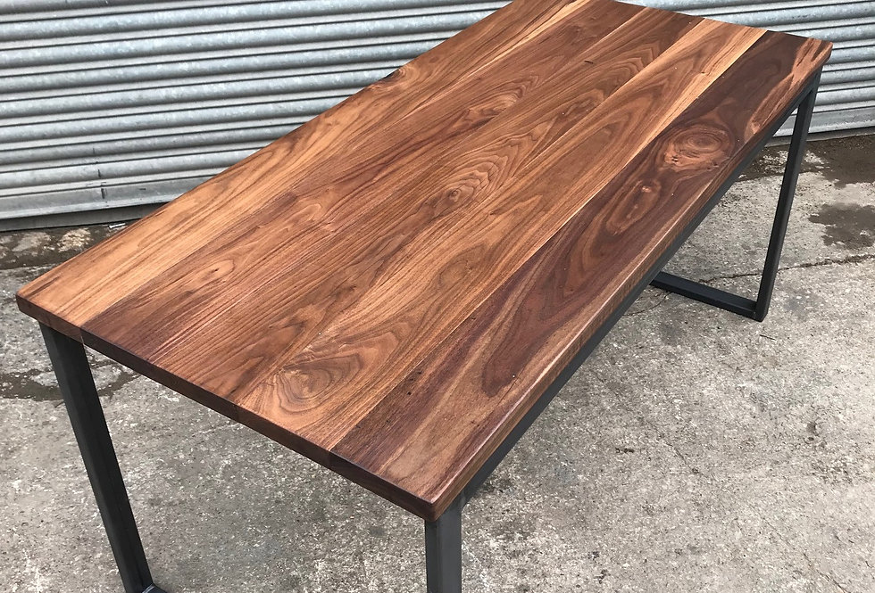 Solid Full Stave WALNUT Industrial Chic 6-8 Seater Wood Steel Table HCB 624