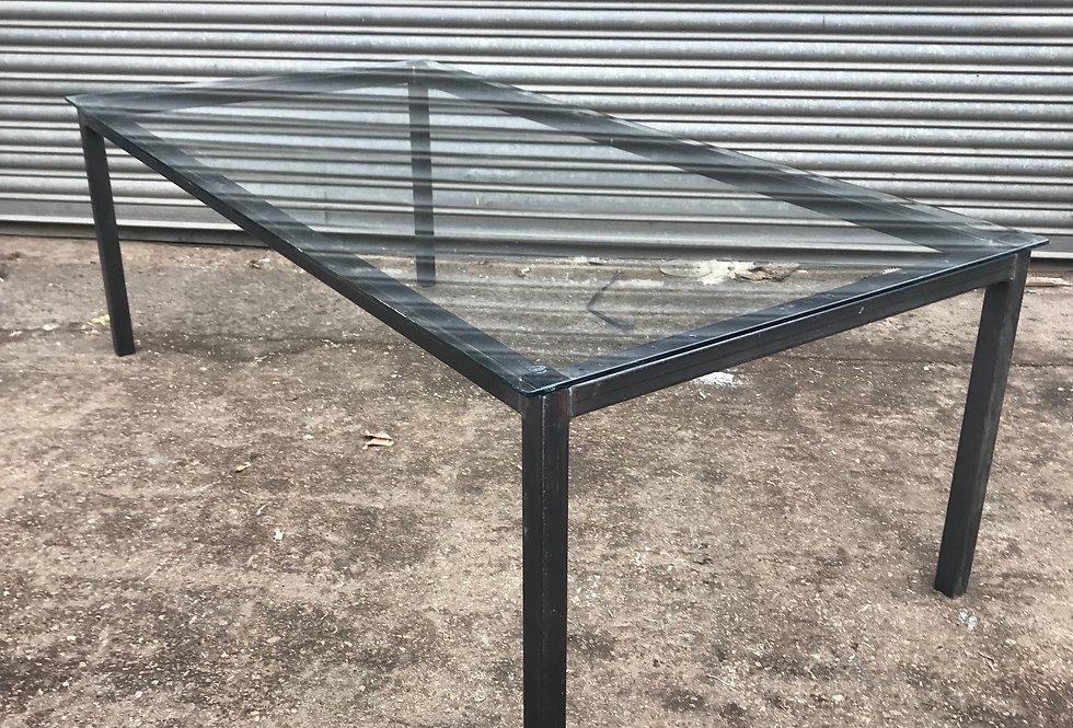 ***IN-STOCK*** Industrial Glass Top Dining table- Various Sizes.
