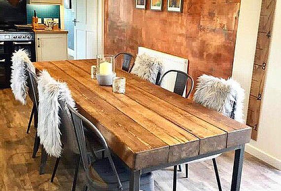 Industrial Chic Sleeper 10-12 Seat Solid Wood & Metal Straight Leg Table 524