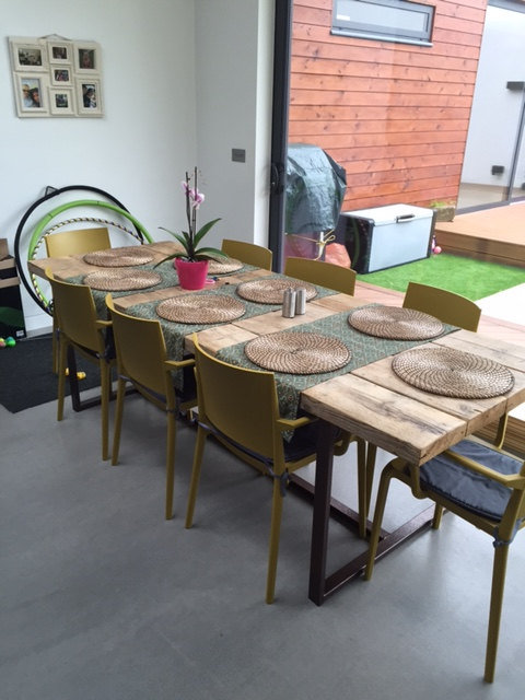 Reclaimed Industrial Chic 8-10 Seater Solid Wood Copper Metal Frame Table CB 149