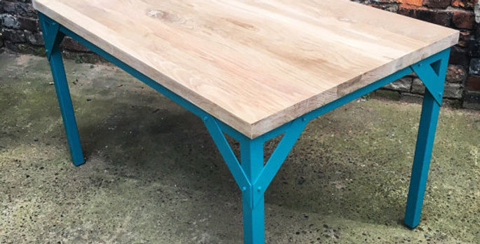 Full Stave Oak Industrial Chic 6-8 Seater Dining Table Teal 023