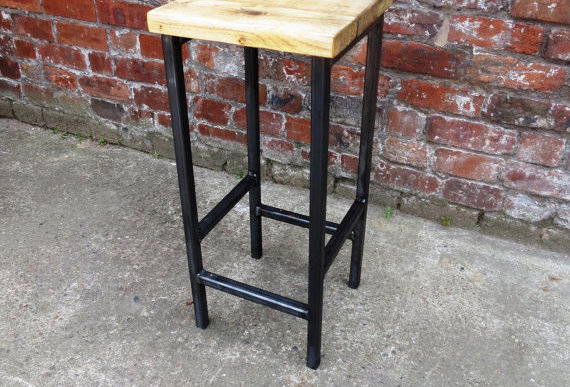 Reclaimed Industrial Chic Style Solid Wood & Metal Breakfast Bar Stool 175