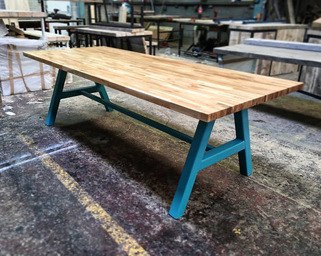 Modern Industrial Chic Solid Oak Block A-Frame Dining Table Teal 135