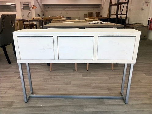 ***IN STOCK*** RECLAIMED CONSOLE TABLE WITH DRAWERS IN WHITEWASH CHROME FRAME