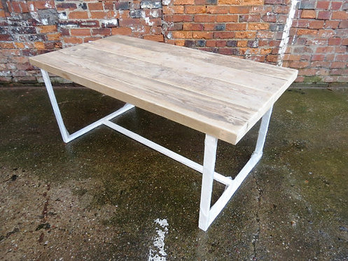Reclaimed Industrial Chic 6-8 Seater Solid Wood & White Metal Frame Table CB 402