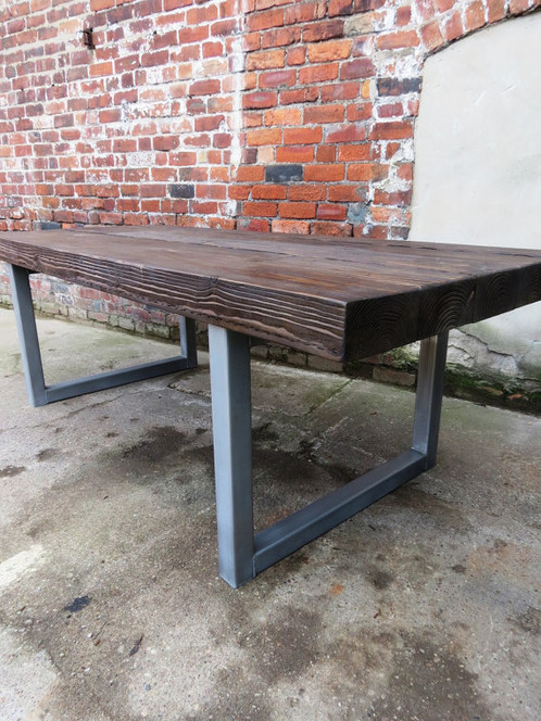 b2af9ad8df93 Reclaimed Industrial Chic 10-12 Seater Solid Wood & Metal Dining Table 148