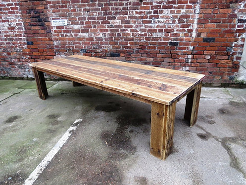 Reclaimed Industrial Chic 10-12 Seater Solid Wood Dining Table 298
