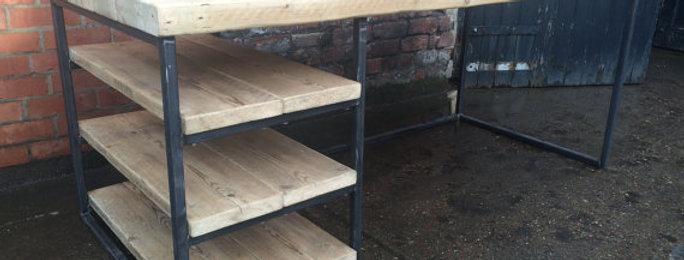 Reclaimed Industrial Chic Wood & Metal Desk 084