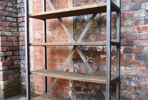 Industrial Chic Reclaimed Custom Steel & Wood Bookcase Shelving Unit 457