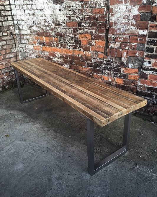 Reclaimed Industrial Chic 6-8 Seater Solid Wood & Metal Dining Table HCB 102