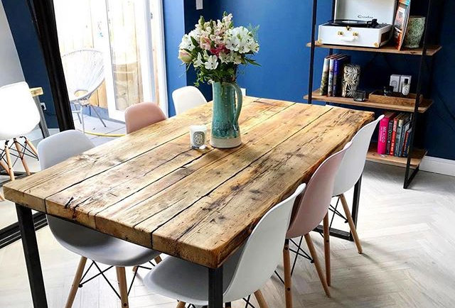 Reclaimed Industrial Chic 6-8 Seater Solid Wood Steel Metal Dining Table CB 620