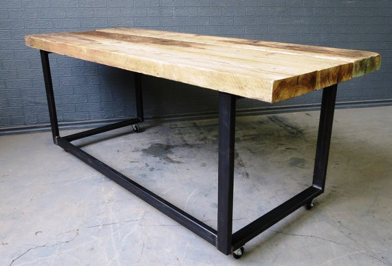 Industrial Chic Reclaimed Custom Office Desk Tables on Wheels 422