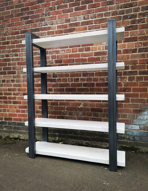 Industrial Chic Reclaimed Custom Steel & Wood Bookcase Shelving Unit- 659