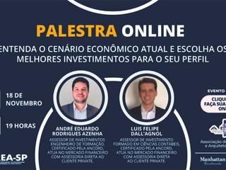 AEAS realiza palestra online sobre cenário econômico e investimentos