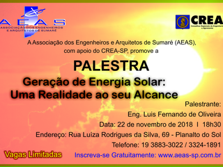 Palestra Geração  de Energia Solar
