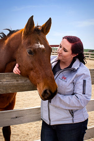Horse trainer looking at her bay mare while leaning against arena fence