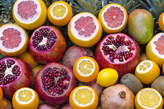 pomegranate, fruit, citrus