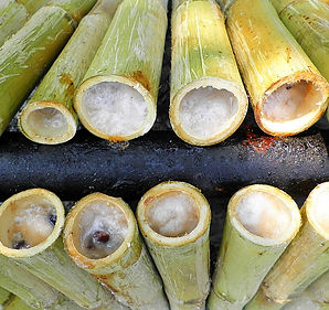 Coconut sticky rice, thai food, thailand, bamboo