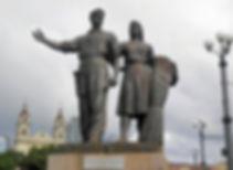 Green Bridge Statues, vilnius, lithuania