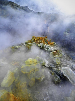 Volcano Sulfatara, naples, italy, steam vent, smoke