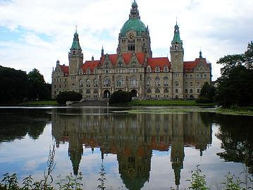 hanover, germany, rathaus, lake