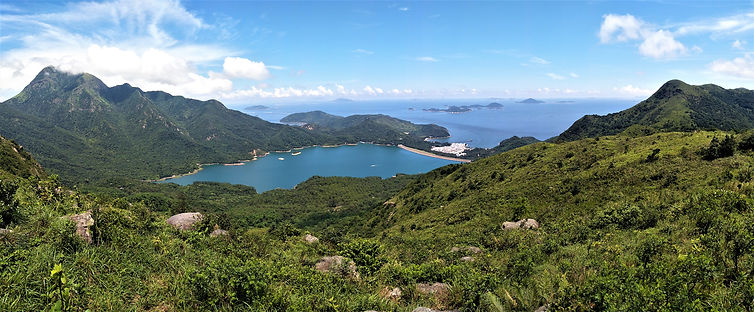 lantau island, lantau trail, view, mountain, sea, hiking, hong kong, reservoir