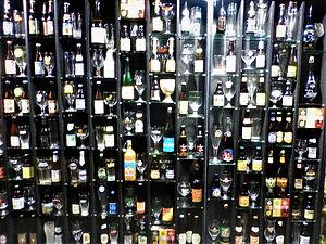 Beer wall, bruges, belgium