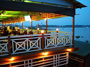 floating restaurant, chau doc, vietnam