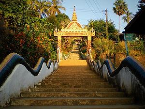 stairs, wat, houay xay, laos