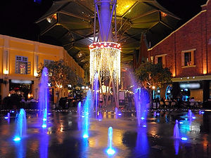 Singapore, clarke quay, fountains, night