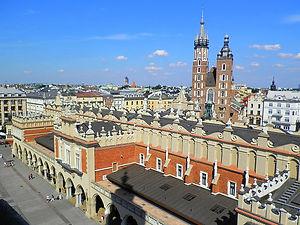 town hall, centre square, krakow, poland