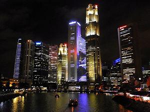 Singapore, night, city, river, lights