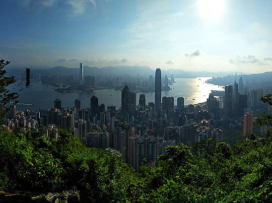 hong kong, trail, mountain, hiking, view, island, peak, city, buildings