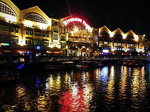Singapore, river, lights, Clarke quay