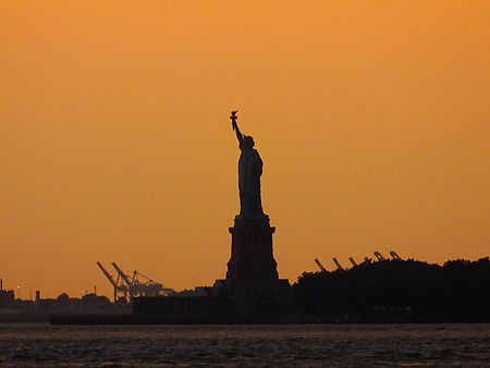 sunset, statue of liberty, new york city