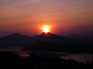 sunset, view, luang prabang, laos