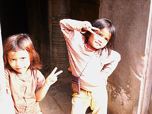 local kids, siem reap, cambodia