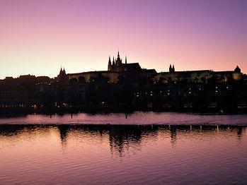 Prague castle, Charles bridge, sunset, czech republic