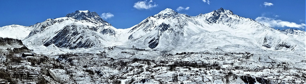 Thorung La, which I came down yesterday, now covered in snow