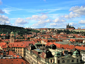 view, old town square tower, prague, czech republic