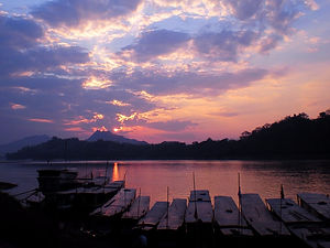 sunset, river, luang prabang, laos