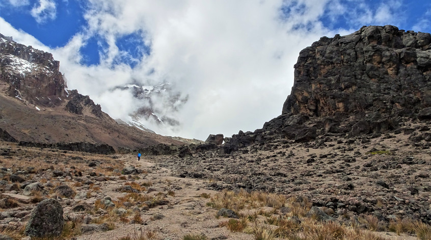 Passing between Kili and the Lava Tower