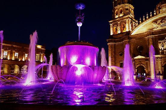 Guadalajara mexico fountain night