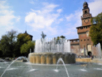 Piazza Castello, milan, italy, fountain