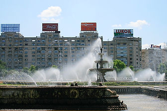 unirii plaza, bucharest, romania, fountains