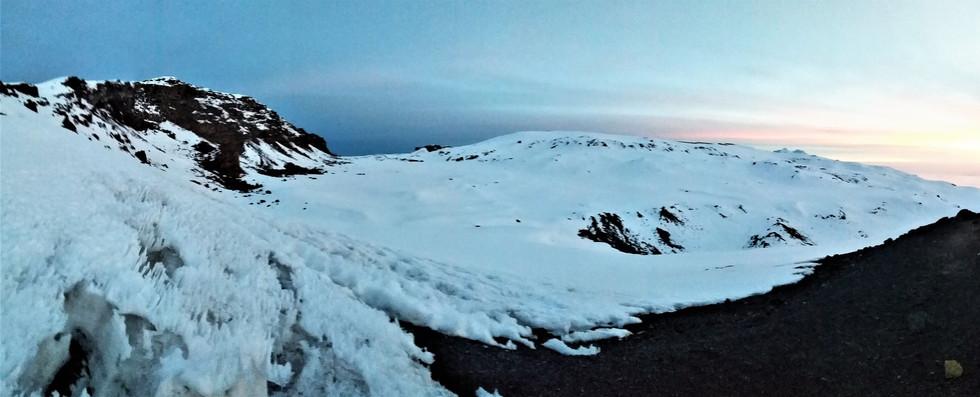The crater rim (Uhuru Peak is on the left)
